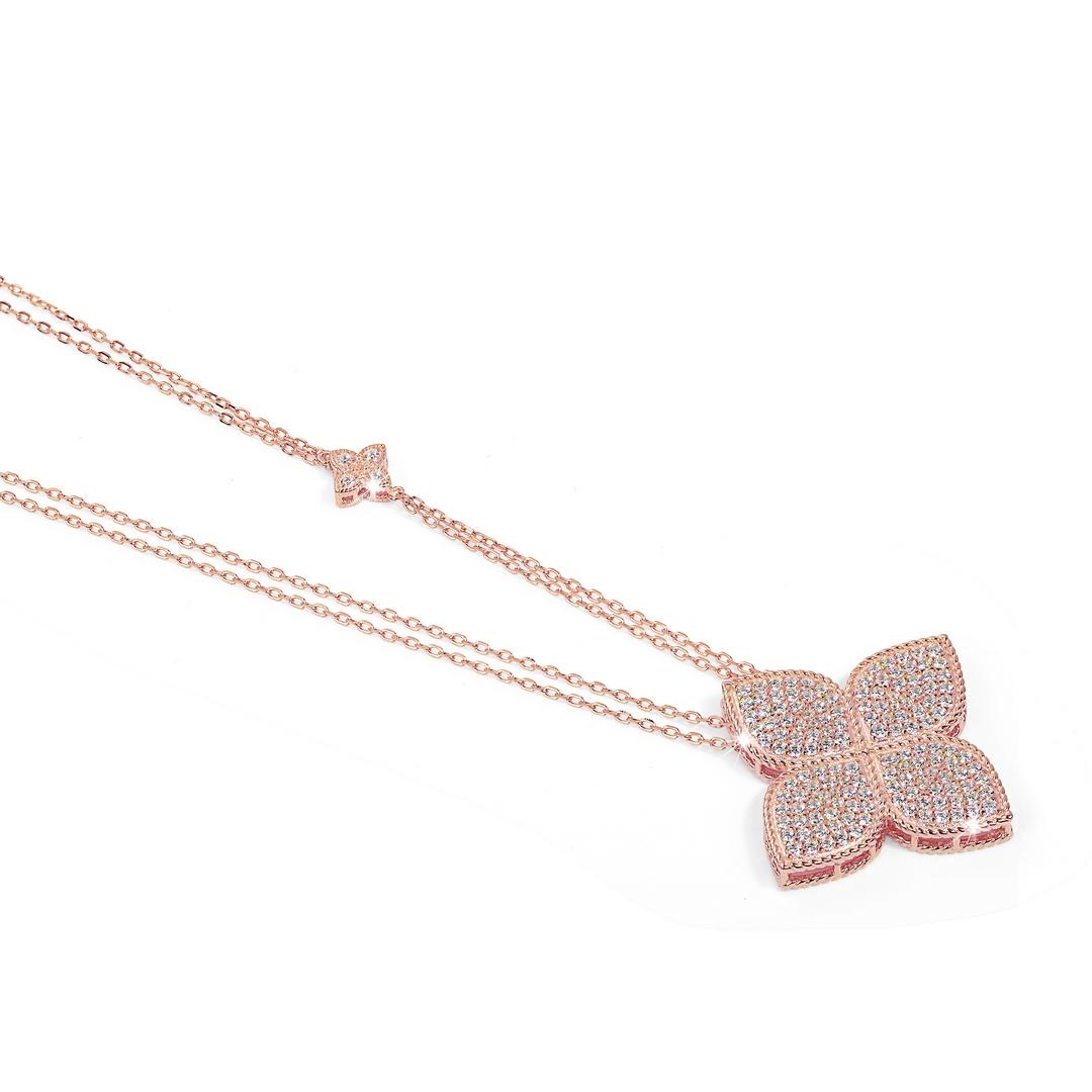 Collana Quadrifoglio Pavé Rosé