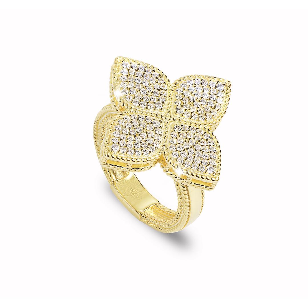 Anello Quadrifoglio Pavé Gold